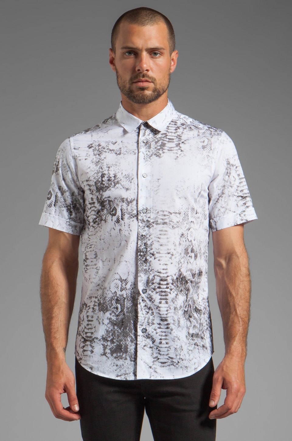 Sons of Heroes Snakeskin Shirt in White/Snakeskin