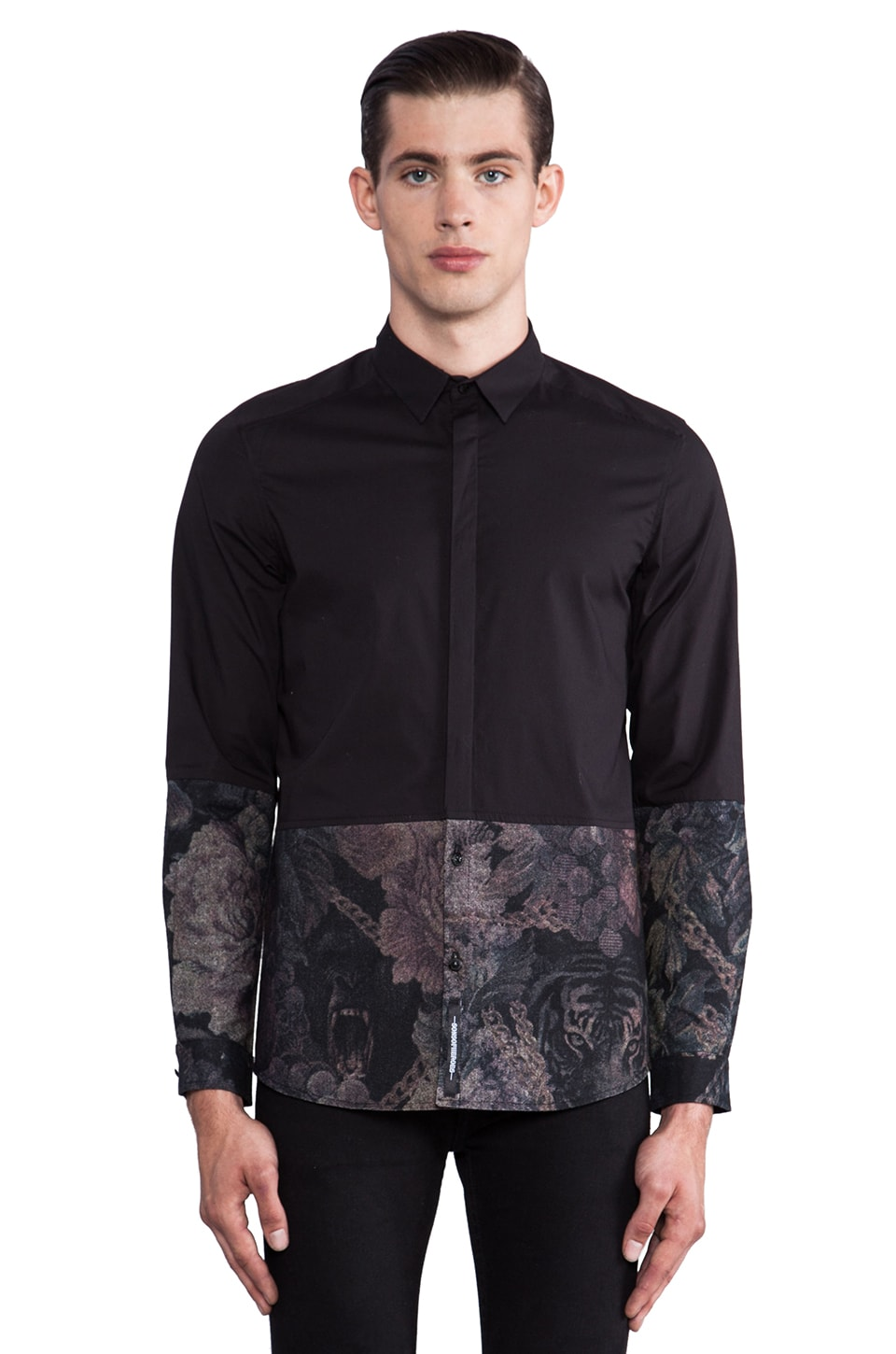 Sons of Heroes Jungle Camo Panel Button Down in Black