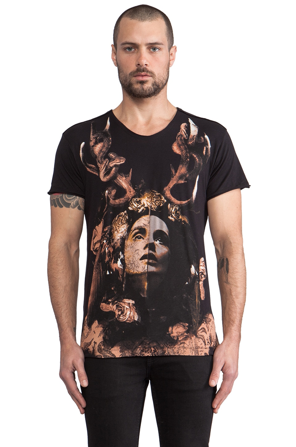 Sons of Heroes Madussa Graphic Tee in Off Black