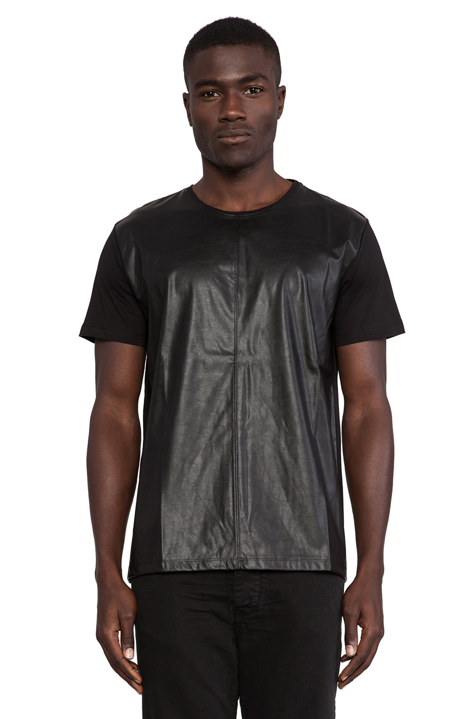 Sons of Heroes Damaged Goods Leather Sleeved Shirt in Black