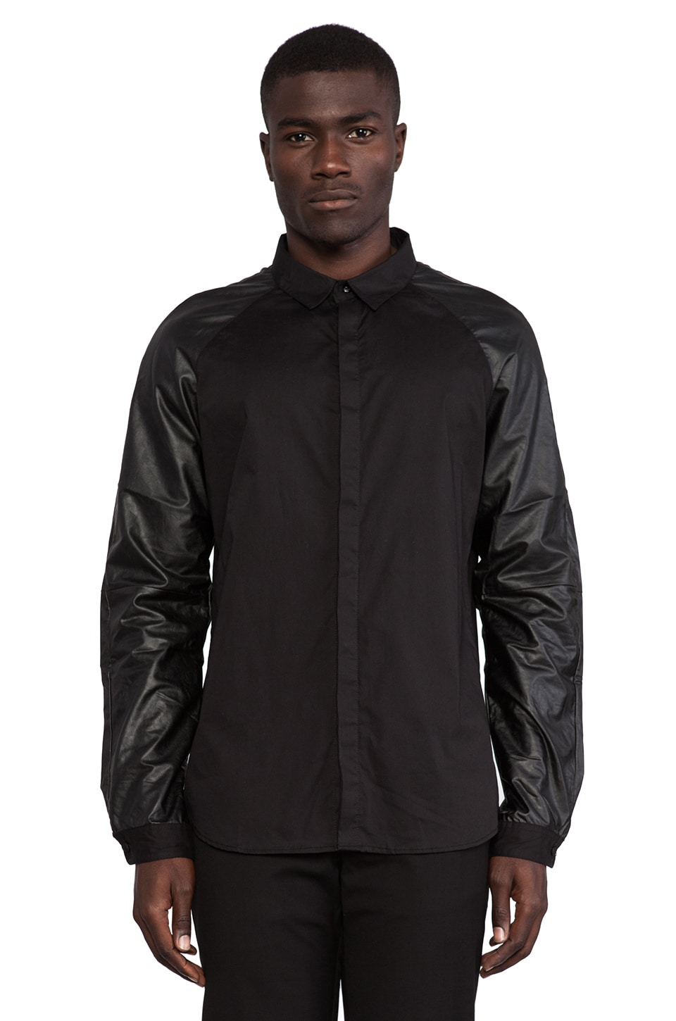 Sons of Heroes Damaged Goods Faux Leather Sleeved Shirt in Black