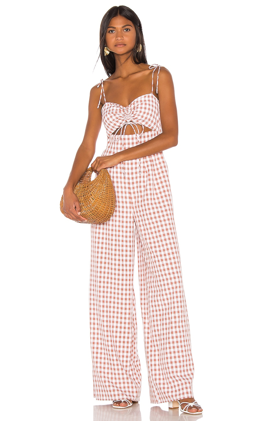 Song of Style Senna Jumpsuit in Taupe Gingham