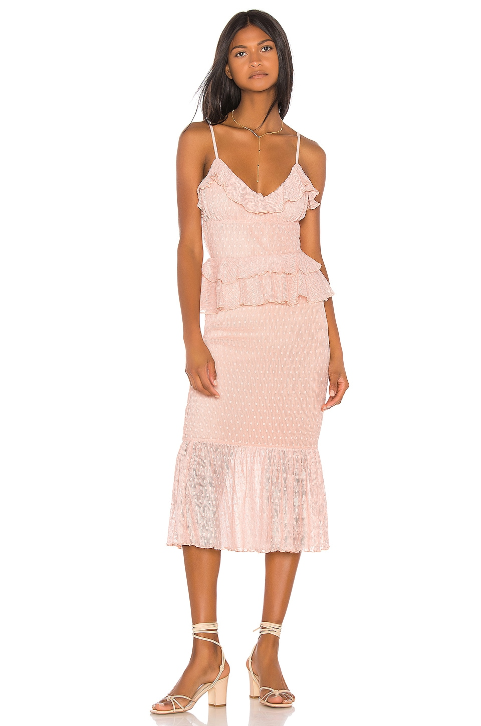Song of Style Lucia Midi Dress in Pink Blush