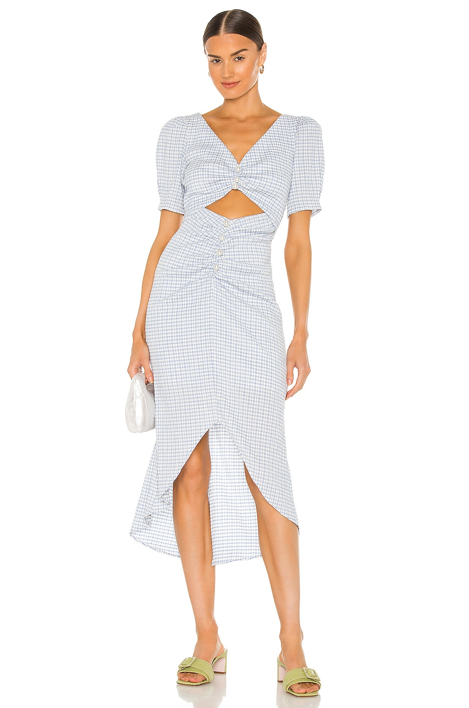 Song of Style Lena Midi Dress in Blue & White