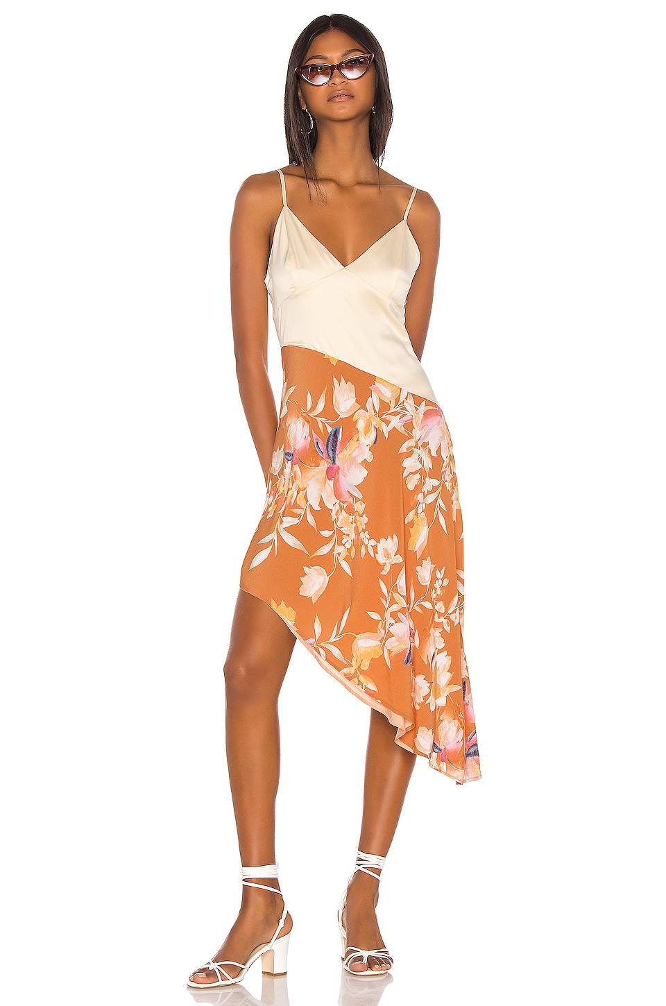Song of Style Syd Midi Dress in Rust Floral