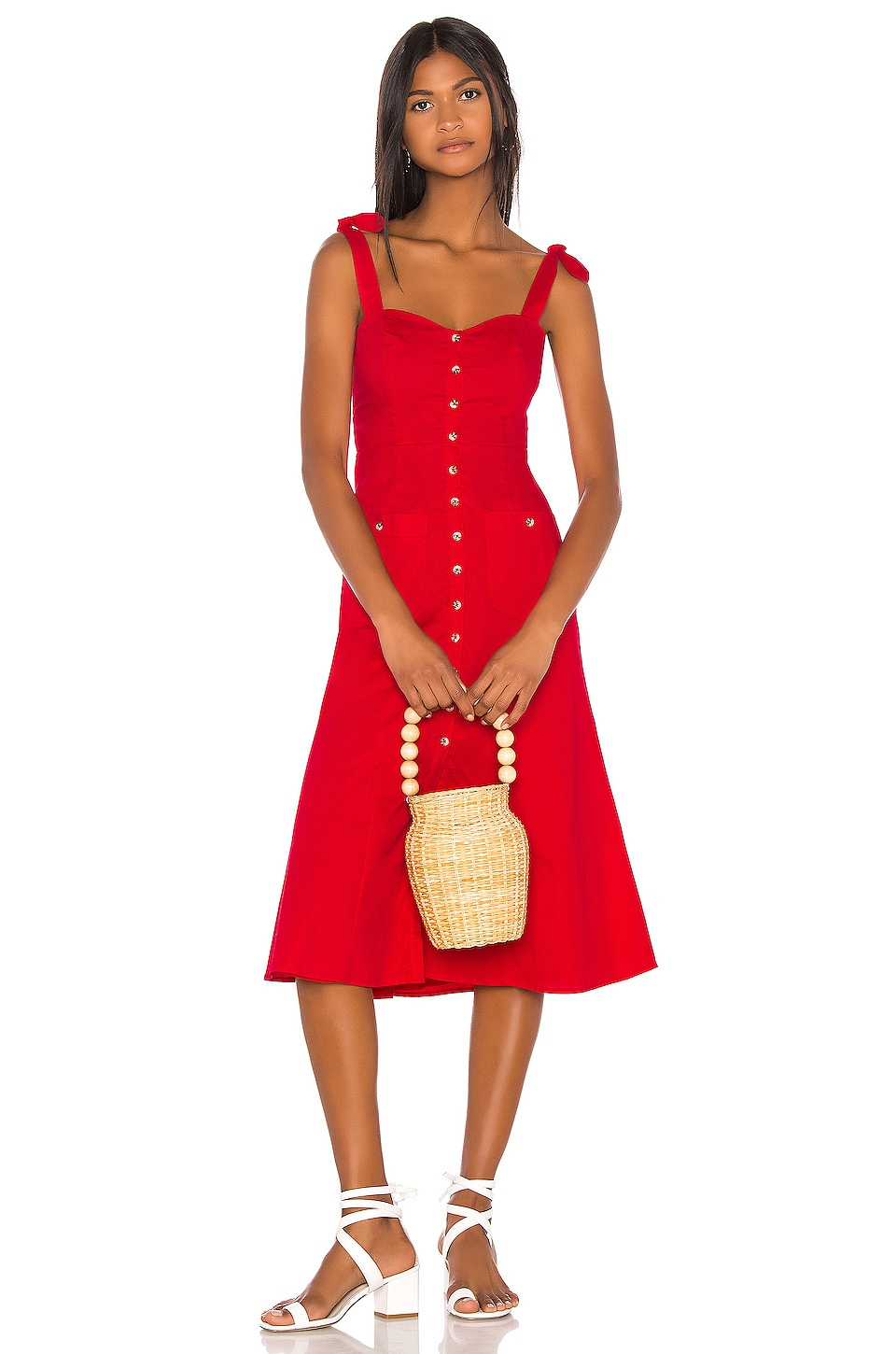 Song of Style Maya Midi Dress in Red