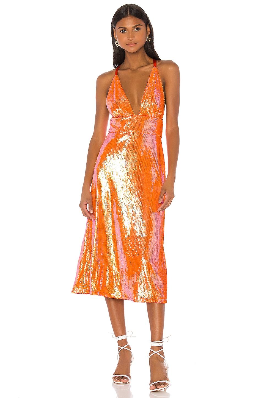 Song of Style Irena Midi Dress in Papaya Orange
