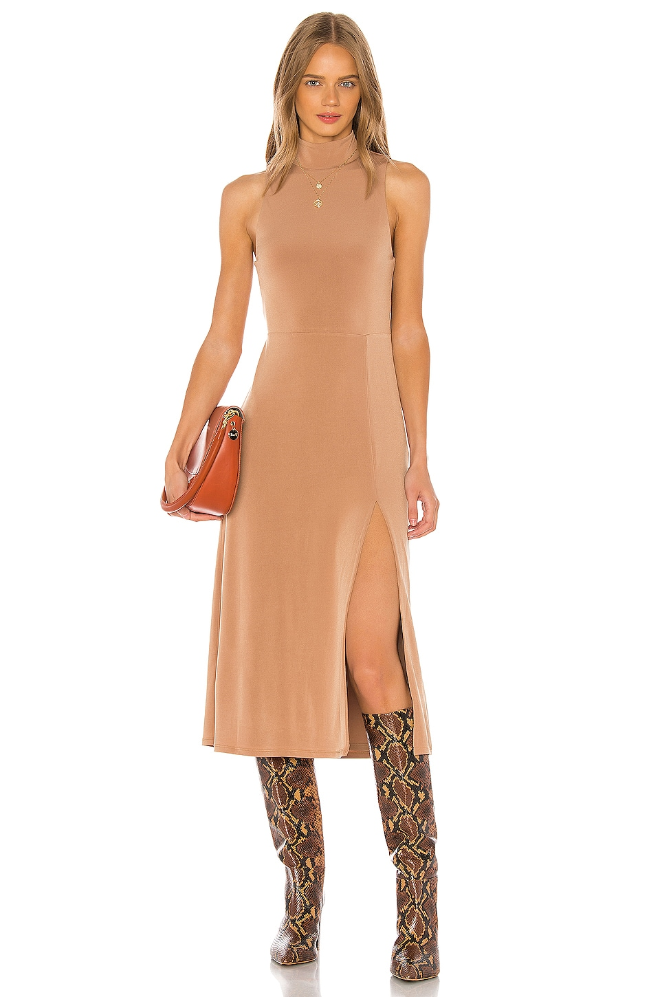 Song of Style Marilyn Midi Dress in Rosewood Brown