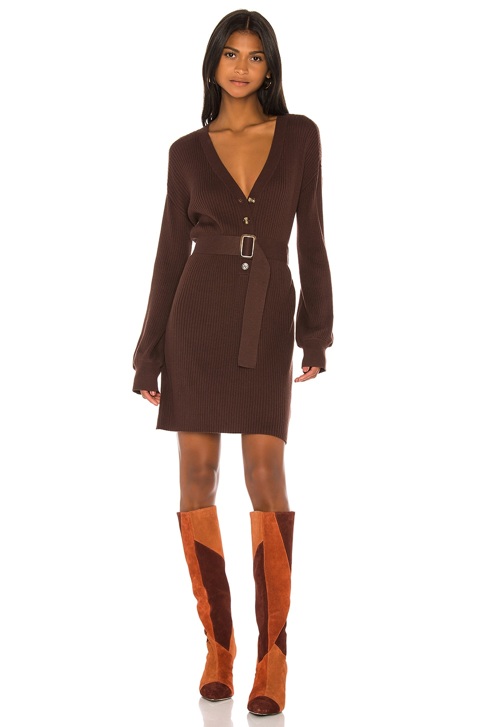Song of Style Darcey Sweater Dress in Chocolate