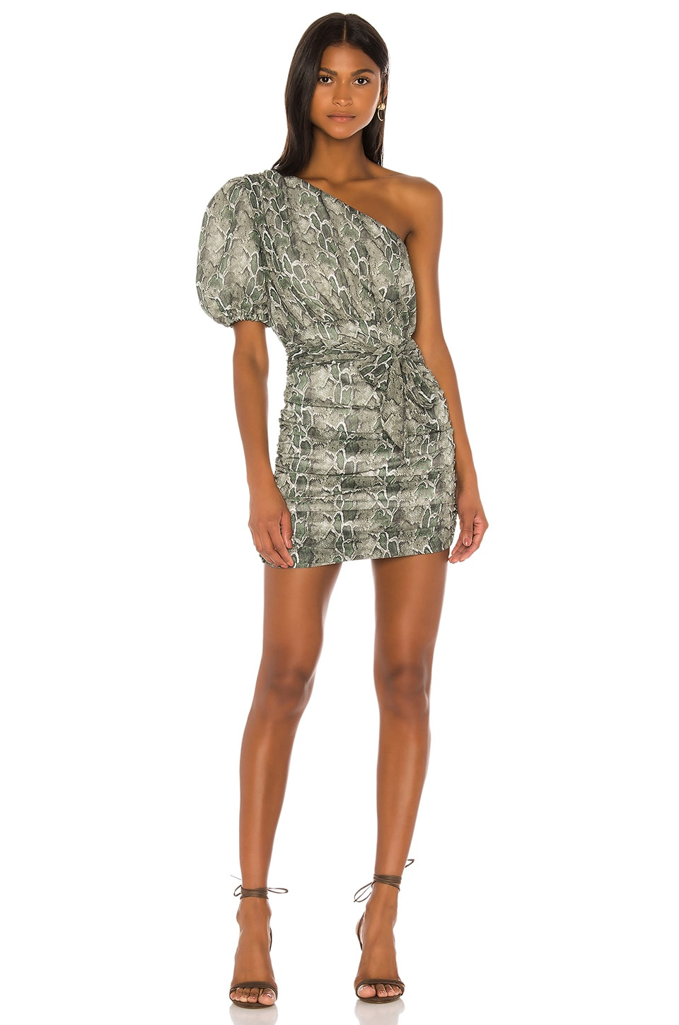 Song of Style Kasper Mini Dress in Green Snake