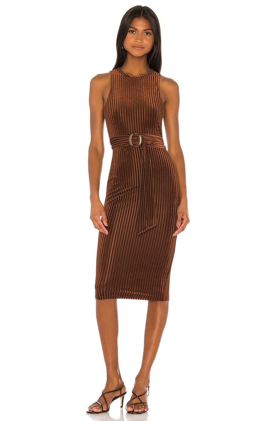 Song of Style Kit Midi Dress in Chocolate Brown