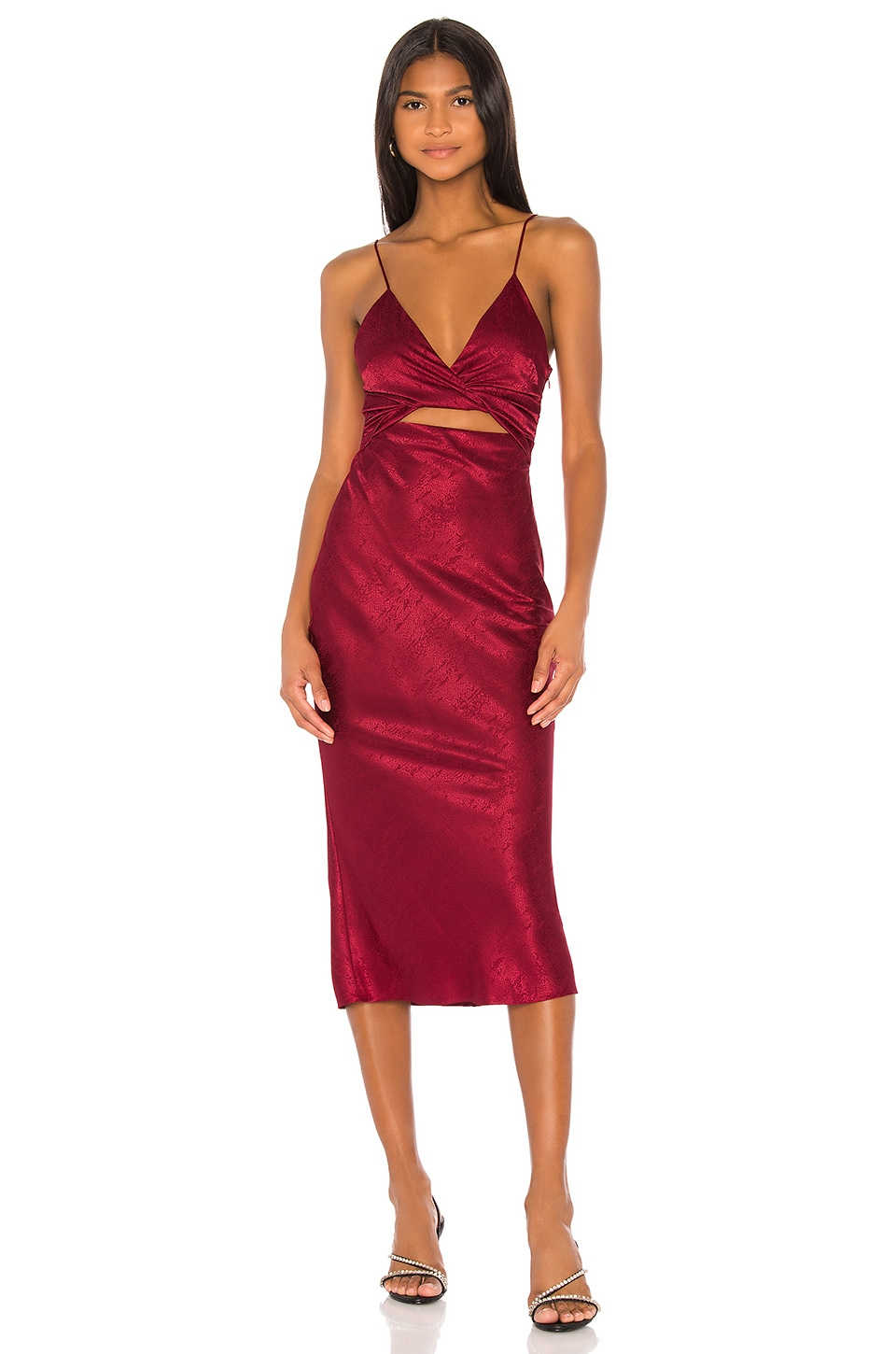 Song of Style Kat Midi Dress in Cranberry Red