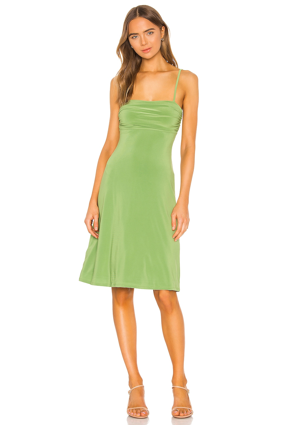 Song of Style Finnick Midi Dress in Moss Green