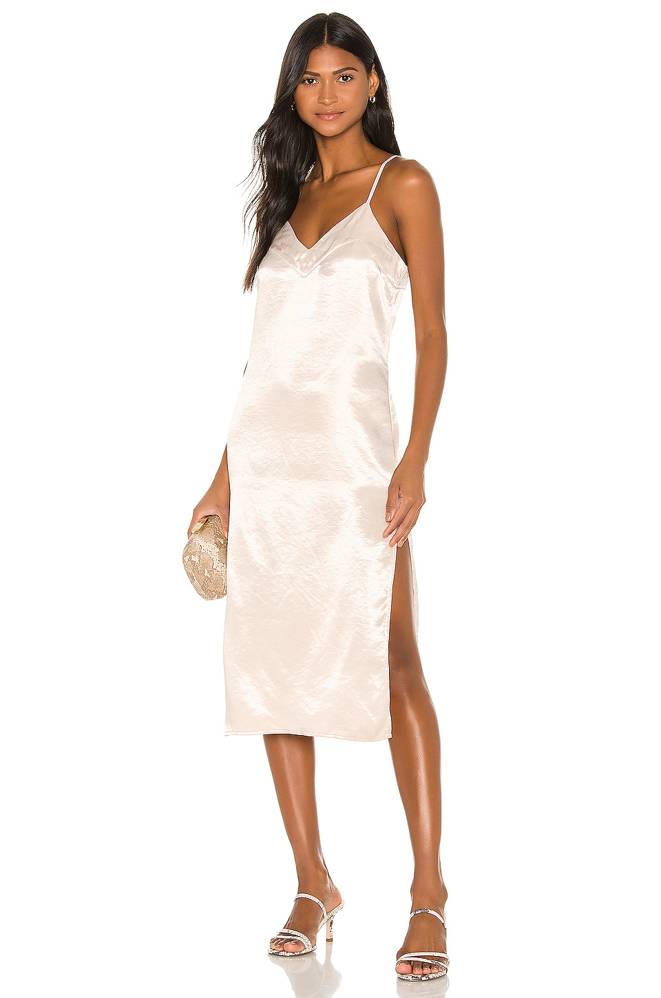 Song of Style Audra Midi Dress in Porcelain Ivory