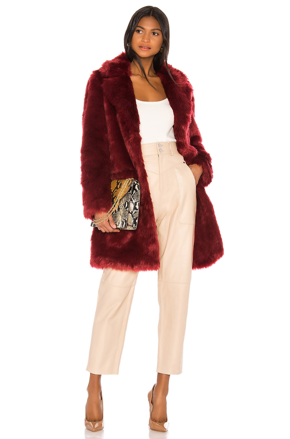 Song of Style Maverick Coat in Cranberry Red