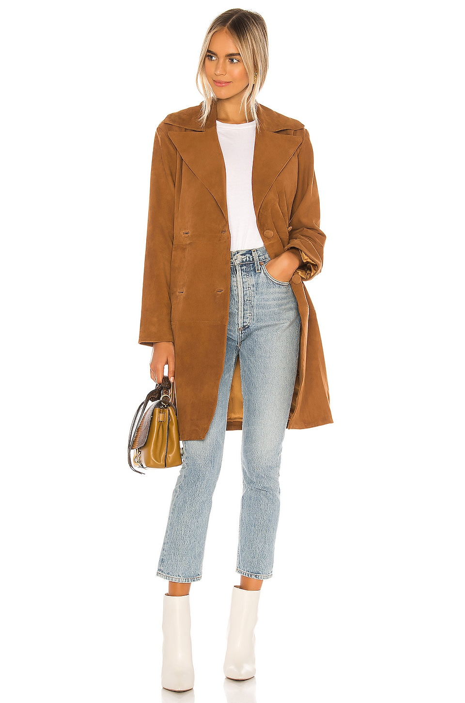 Song of Style Song Leather Trench Coat in Warm Tobacco
