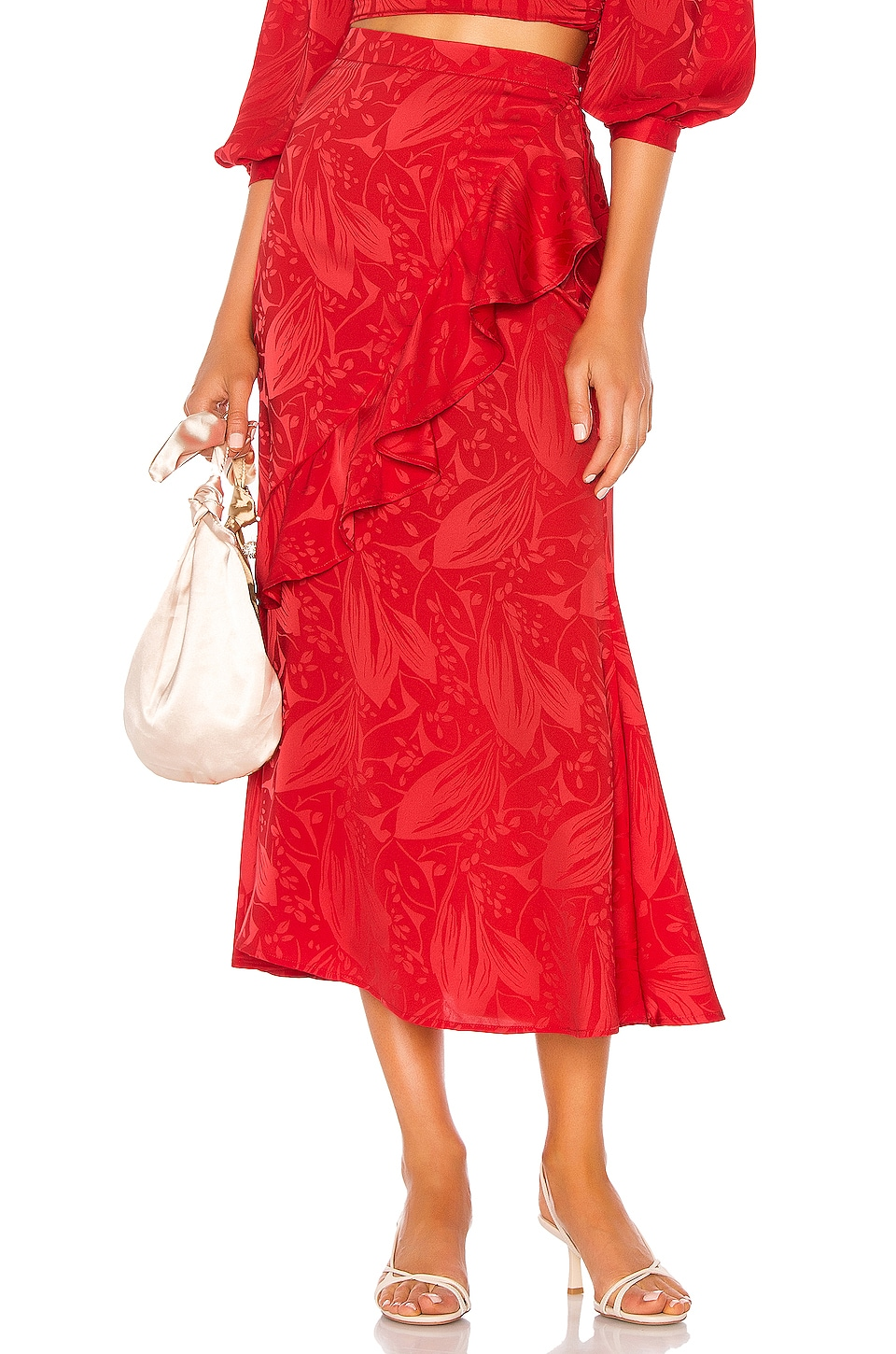 Song of Style Eaton Midi Skirt in Scarlet Red