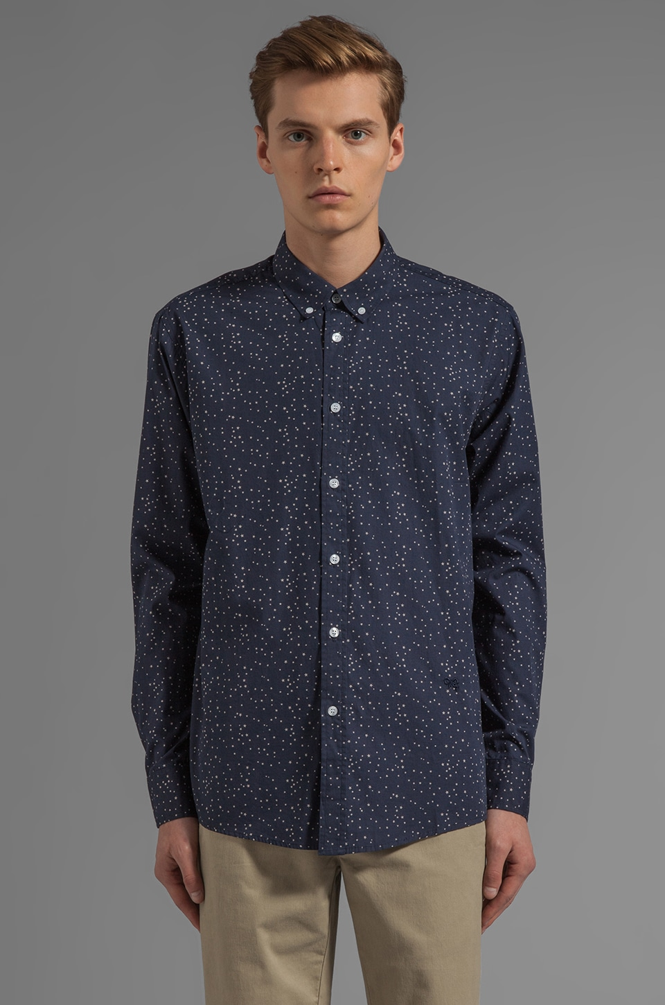 Soulland Ziggy Button Down w/ Stars in Navy