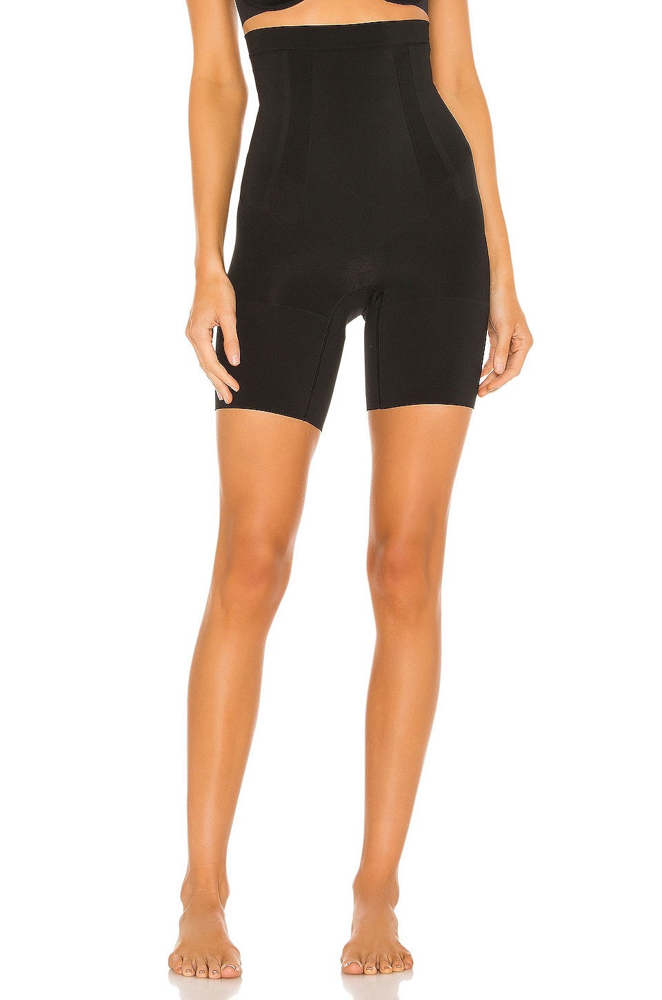 SPANX Oncore High Waisted Mid Thigh Short in Very Black