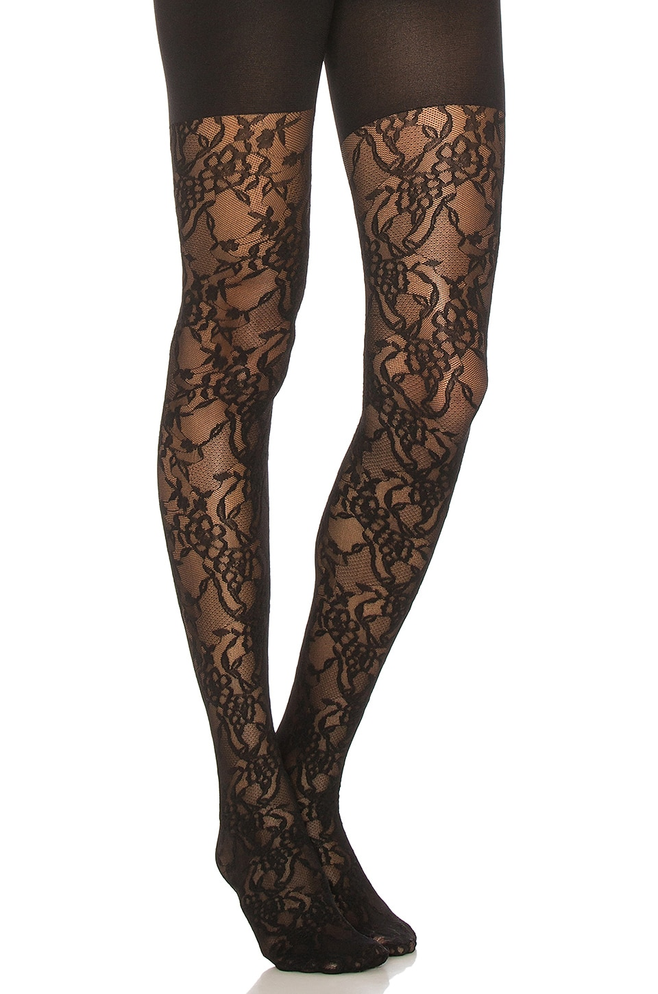SPANX Lovely Lace Tights in Very Black