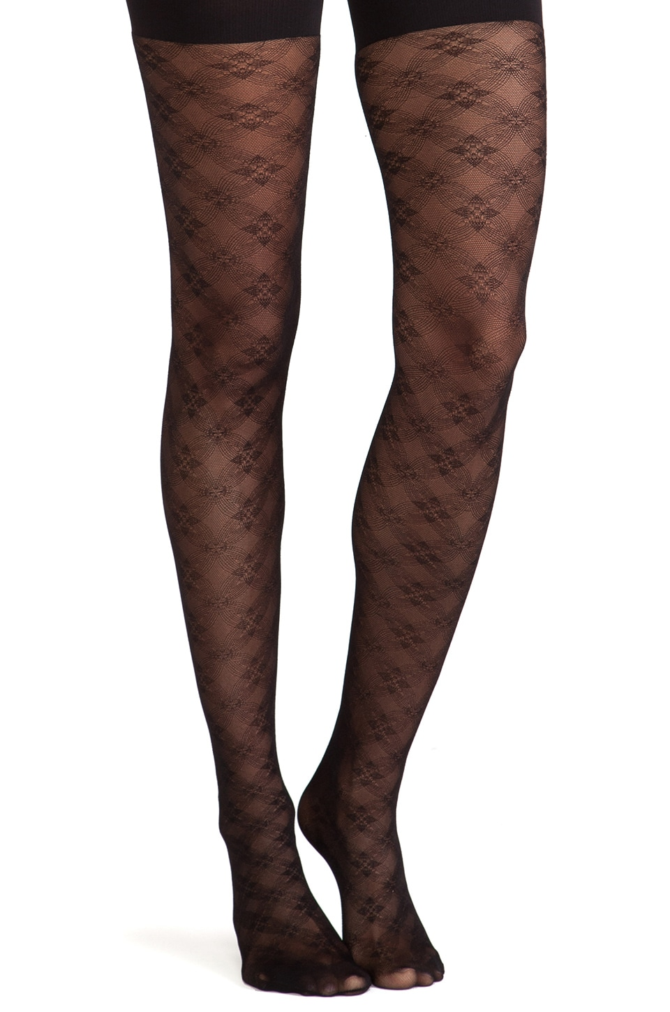 SPANX Floral Check Tights in Black