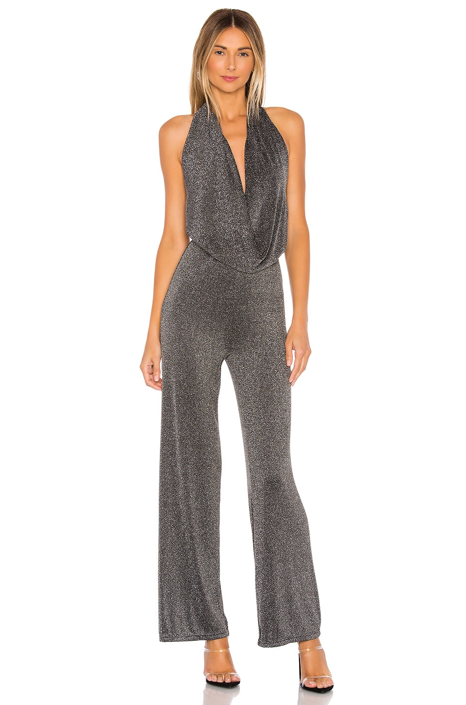 superdown Saffron Cowl Neck Jumpsuit in Metallic Silver