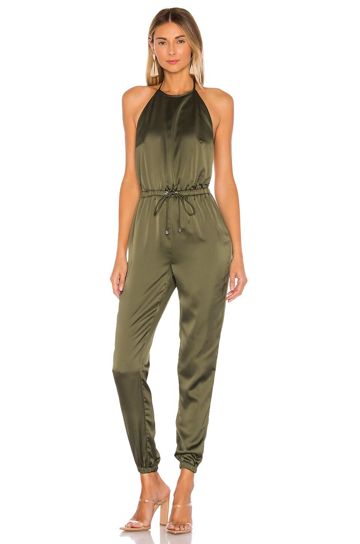 superdown Brittany Halter Jumpsuit in Army Green