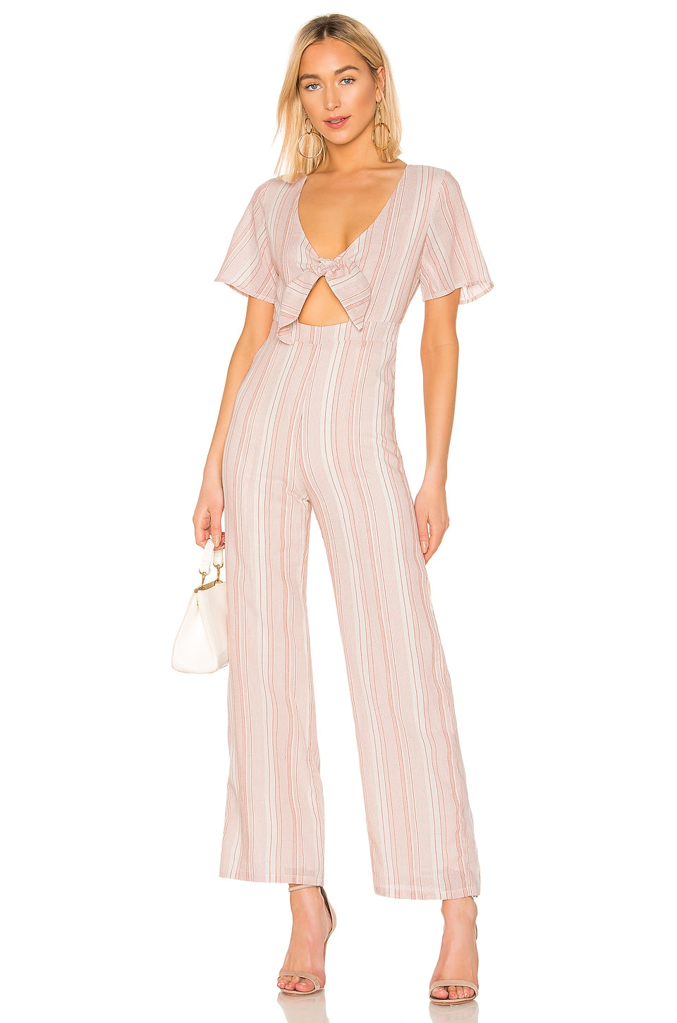 superdown Mollie Tie Front Jumpsuit in Red & White Stripe