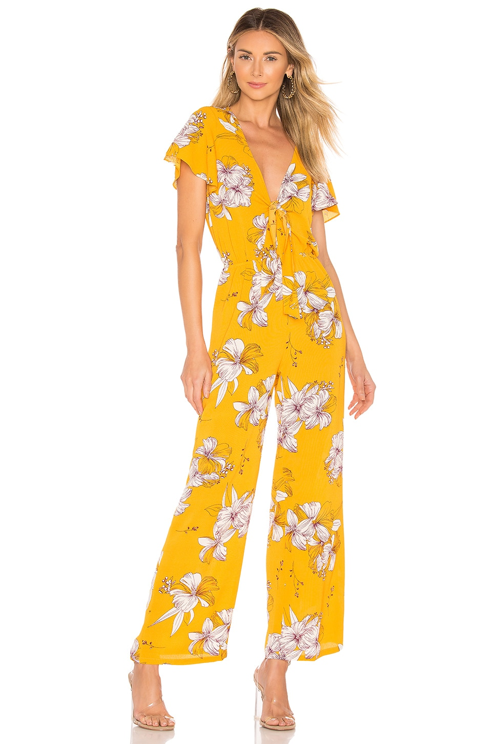 superdown Cora Tie Front Jumpsuit in Mustard Floral