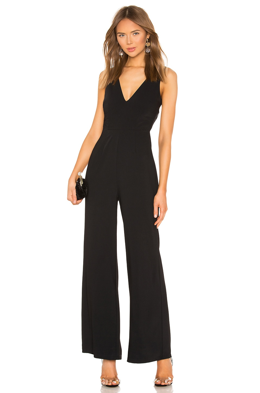 superdown Carmela Deep V Wide Leg Backless Jumpsuit en Black