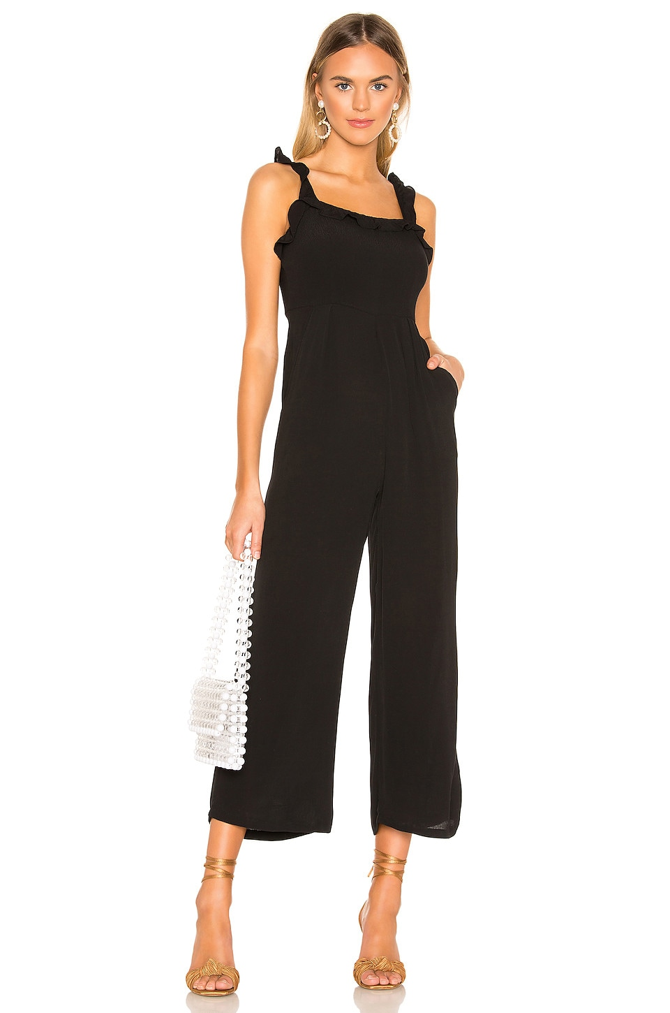 superdown Victoria Ruffle Jumpsuit in Black