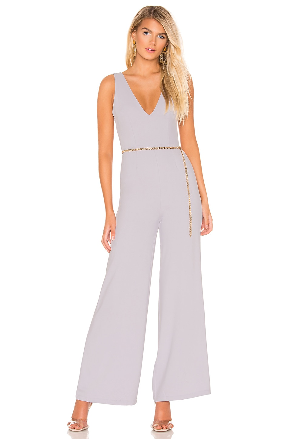 superdown Carmela Deep V Wide Leg Backless Jumpsuit in Dusty Blue