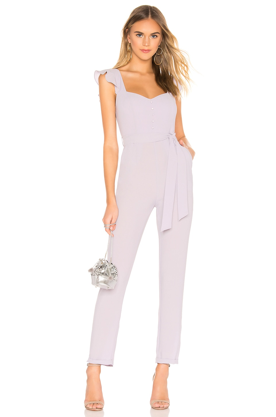 superdown Gloria Flutter Jumpsuit in Lavender