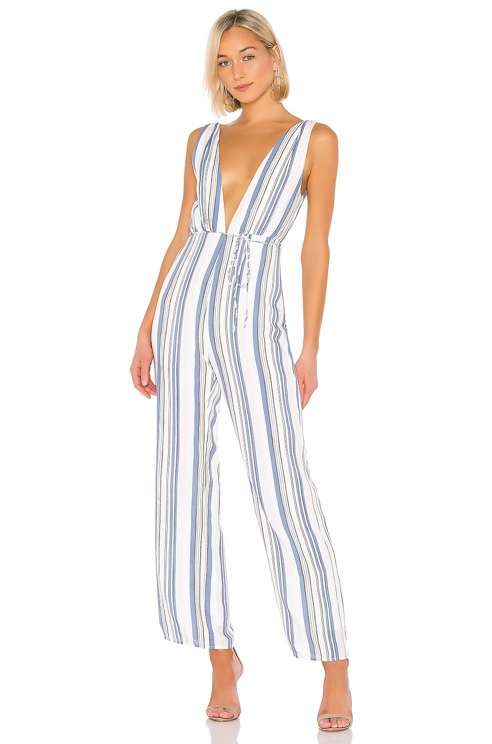 superdown Bette Deep V Jumpsuit in Multi Stripe