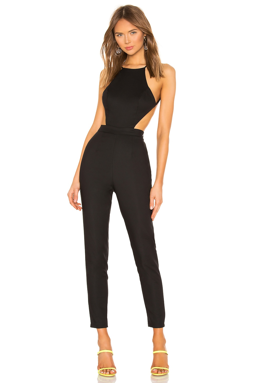 superdown Susie Open Back Jumpsuit in Black