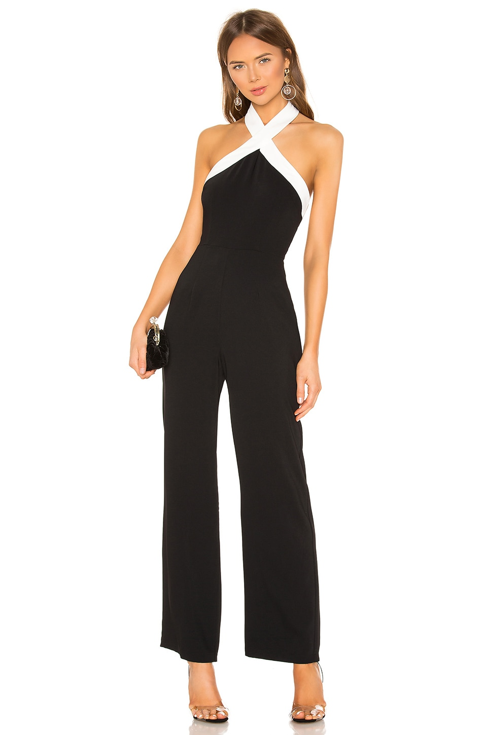 superdown Laurien Cross Front Jumpsuit in Black