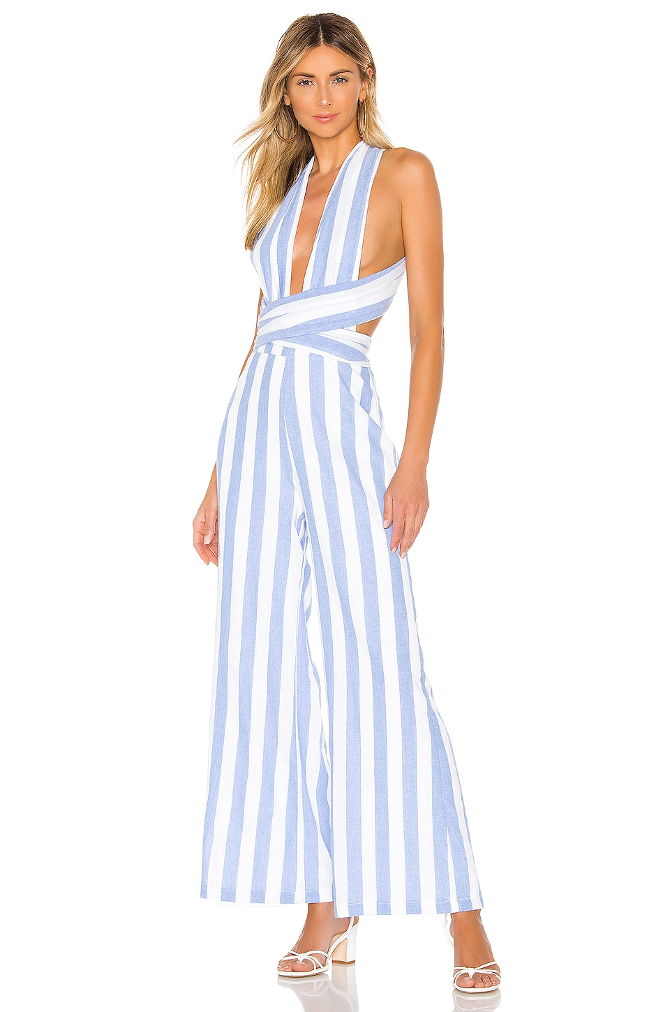superdown Kia Striped Jumpsuit in Blue & White