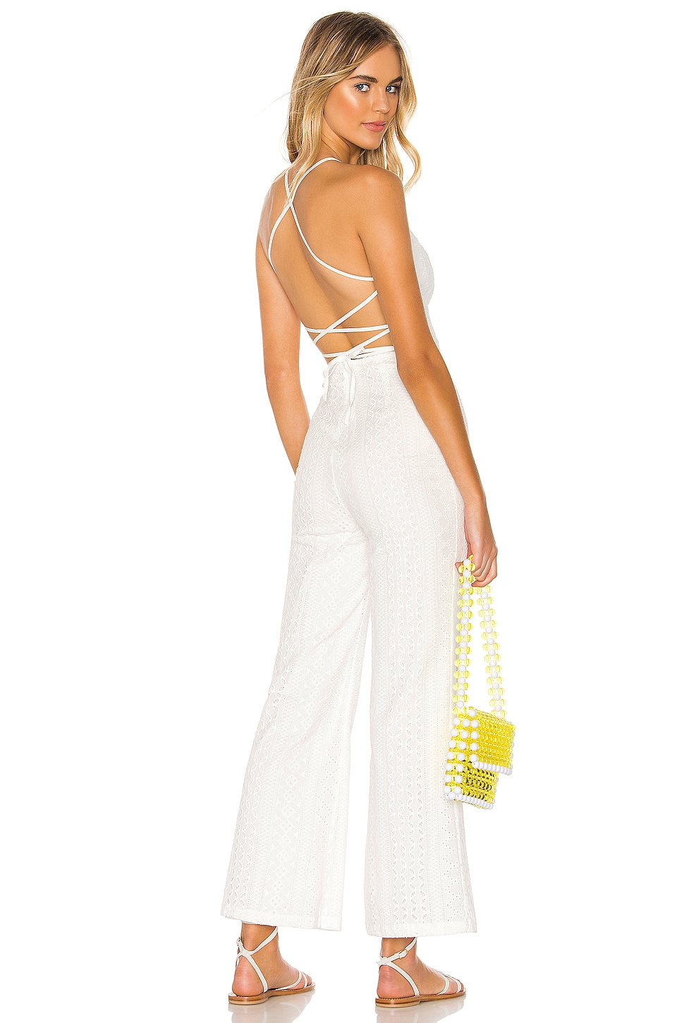superdown Katherine Lace Up Back Jumpsuit in White
