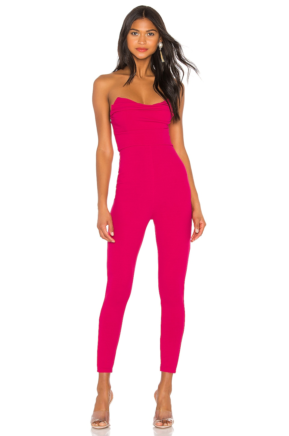 superdown Clarice Strapless Jumpsuit in Hot Pink