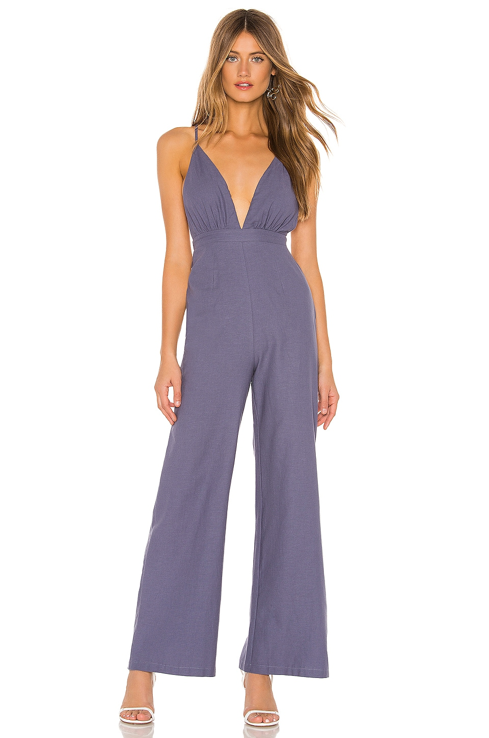 superdown Tasha Open Back Jumpsuit in Blue