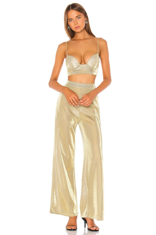 superdown Miranda Pant Set in Gold Metallic