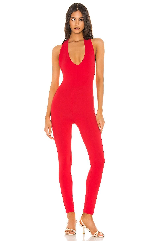 superdown Mindy Halter Jumpsuit in Red