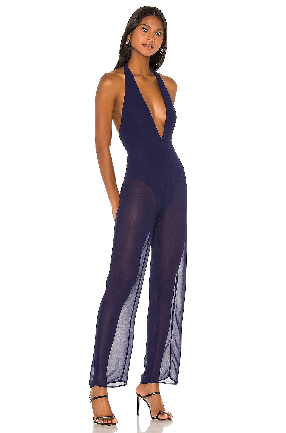 superdown Kira Halter Jumpsuit in Navy