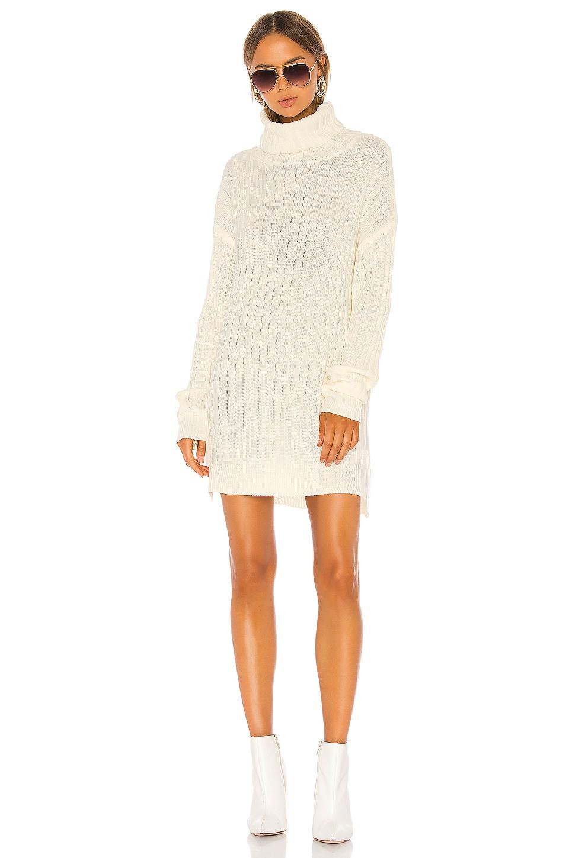 superdown Tyla Turtleneck Slit Dress in Cream