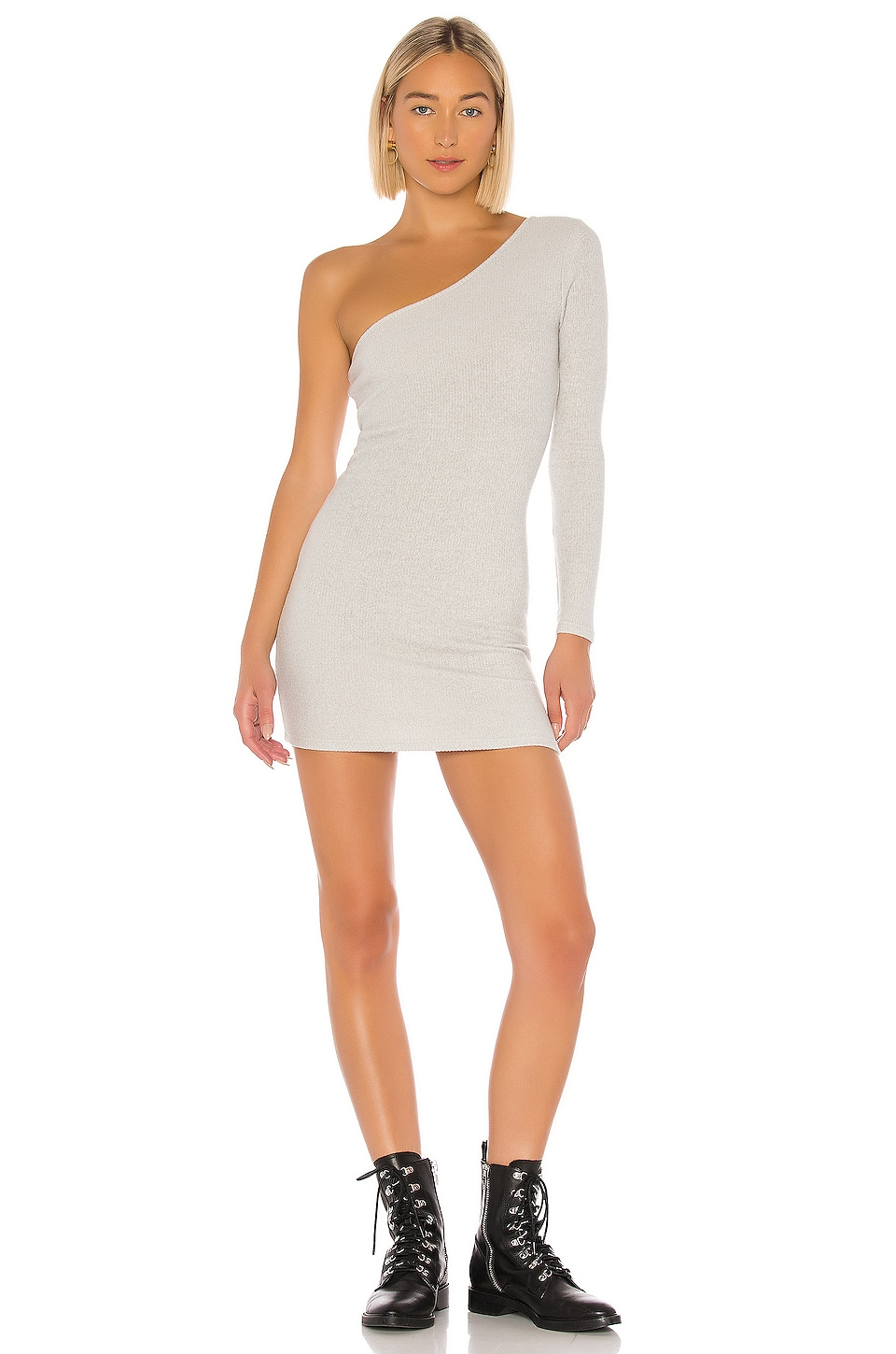 superdown Mila One Shoulder Sweater Dress in Grey