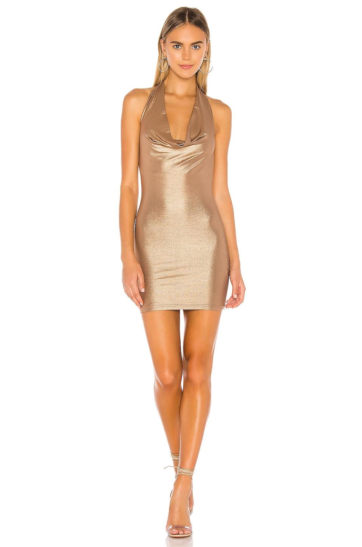 superdown Tatum Drape Halter Dress in Bronze