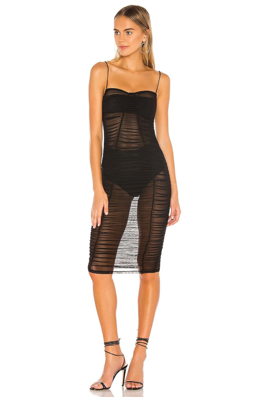 superdown Belinda Ruched Mesh Dress in Black