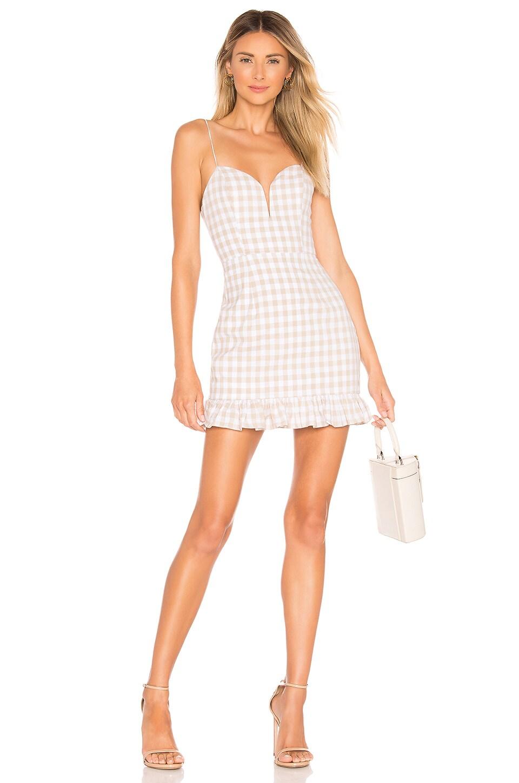 superdown Avery Sweetheart Ruffle Dress in Nude Gingham
