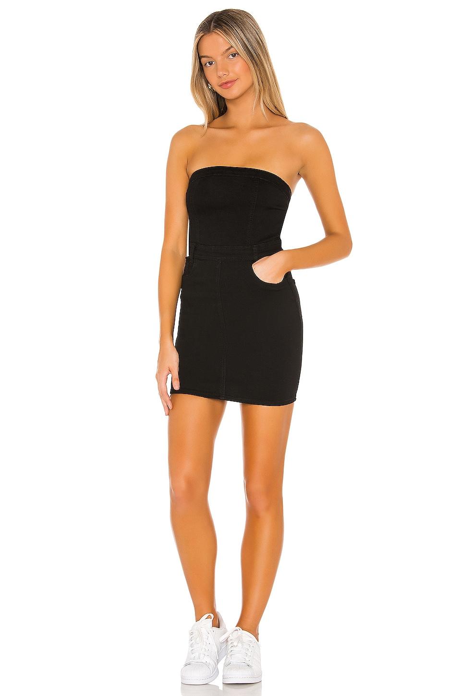 superdown Ally Strapless Denim Dress in Black