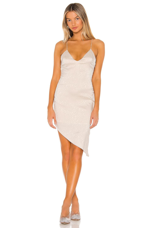 superdown Alissa Asymmetrical Midi Dress in Champagne